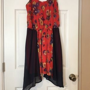 Bar III Red and Blue Floral Dress size Medium